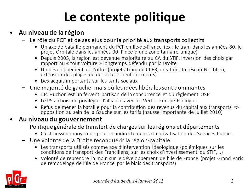2Journée détude du 14 janvier 2011 Le contexte politique Au niveau de la région –Le rôle du PCF et de ses élus pour la priorité aux transports collect