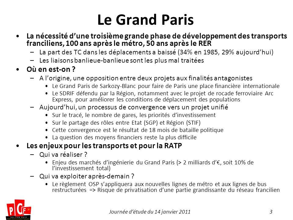 3Journée détude du 14 janvier 2011 Le Grand Paris La nécessité dune troisième grande phase de développement des transports franciliens, 100 ans après