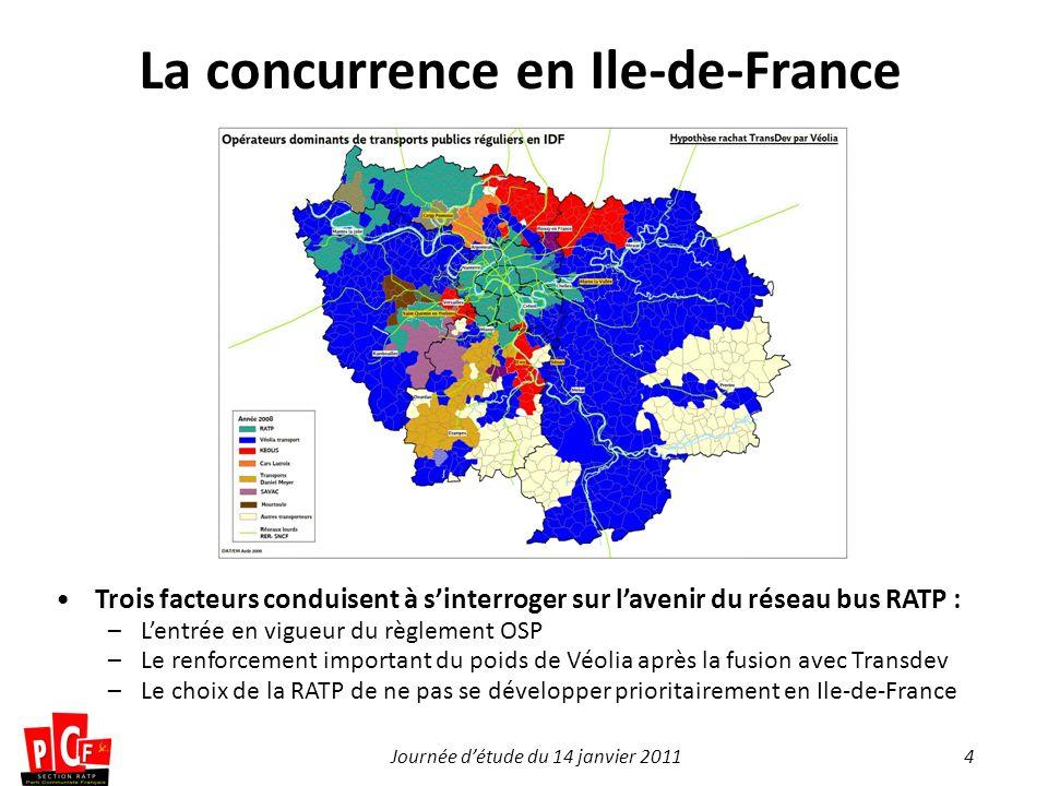 4Journée détude du 14 janvier 2011 La concurrence en Ile-de-France Trois facteurs conduisent à sinterroger sur lavenir du réseau bus RATP : –Lentrée e