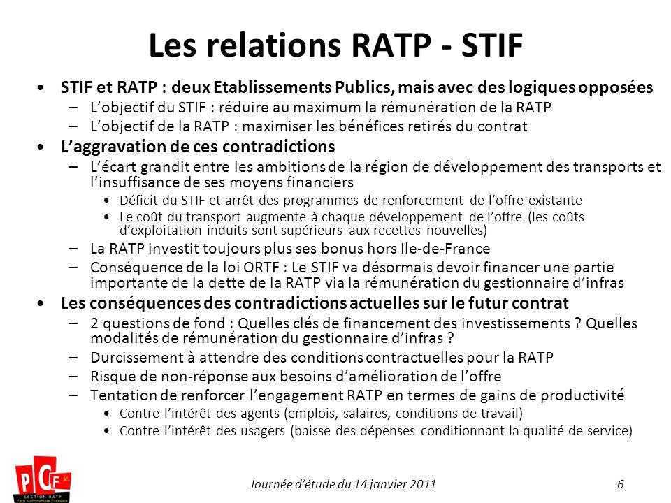 6Journée détude du 14 janvier 2011 Les relations RATP - STIF STIF et RATP : deux Etablissements Publics, mais avec des logiques opposées –Lobjectif du
