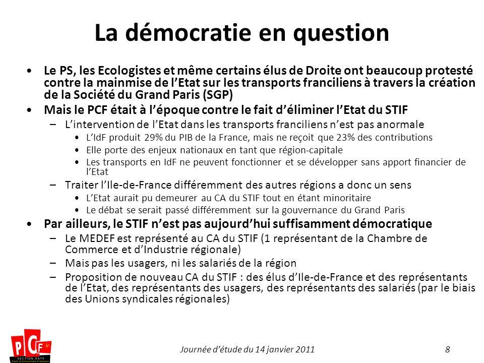 8Journée détude du 14 janvier 2011 La démocratie en question Le PS, les Ecologistes et même certains élus de Droite ont beaucoup protesté contre la mainmise de lEtat sur les transports franciliens à travers la création de la Société du Grand Paris (SGP) Mais le PCF était à lépoque contre le fait déliminer lEtat du STIF –Lintervention de lEtat dans les transports franciliens nest pas anormale LIdF produit 29% du PIB de la France, mais ne reçoit que 23% des contributions Elle porte des enjeux nationaux en tant que région-capitale Les transports en IdF ne peuvent fonctionner et se développer sans apport financier de lEtat –Traiter lIle-de-France différemment des autres régions a donc un sens LEtat aurait pu demeurer au CA du STIF tout en étant minoritaire Le débat se serait passé différemment sur la gouvernance du Grand Paris Par ailleurs, le STIF nest pas aujourdhui suffisamment démocratique –Le MEDEF est représenté au CA du STIF (1 représentant de la Chambre de Commerce et dIndustrie régionale) –Mais pas les usagers, ni les salariés de la région –Proposition de nouveau CA du STIF : des élus dIle-de-France et des représentants de lEtat, des représentants des usagers, des représentants des salariés (par le biais des Unions syndicales régionales)