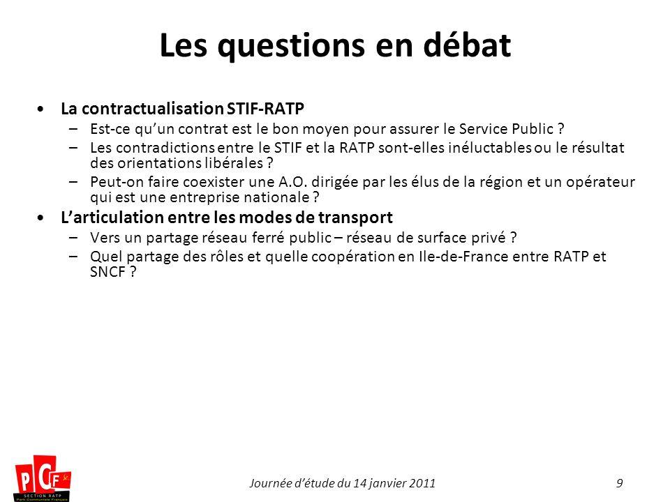 9Journée détude du 14 janvier 2011 Les questions en débat La contractualisation STIF-RATP –Est-ce quun contrat est le bon moyen pour assurer le Servic