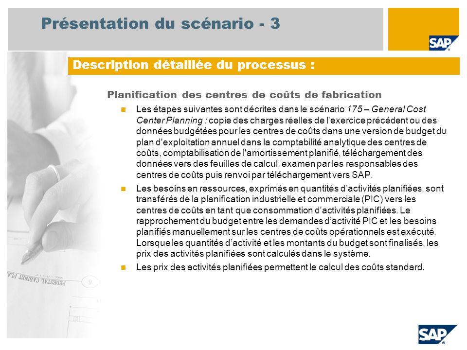 Présentation du scénario - 3 Planification des centres de coûts de fabrication Les étapes suivantes sont décrites dans le scénario 175 – General Cost