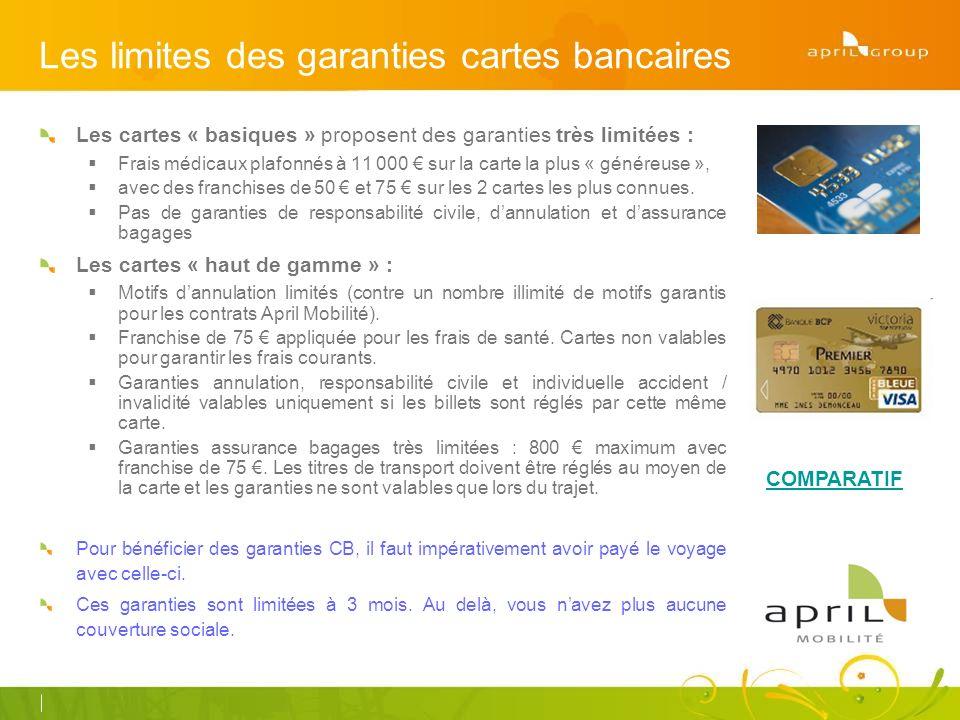 Les limites des garanties cartes bancaires Les cartes « basiques » proposent des garanties très limitées : Frais médicaux plafonnés à 11 000 sur la carte la plus « généreuse », avec des franchises de 50 et 75 sur les 2 cartes les plus connues.