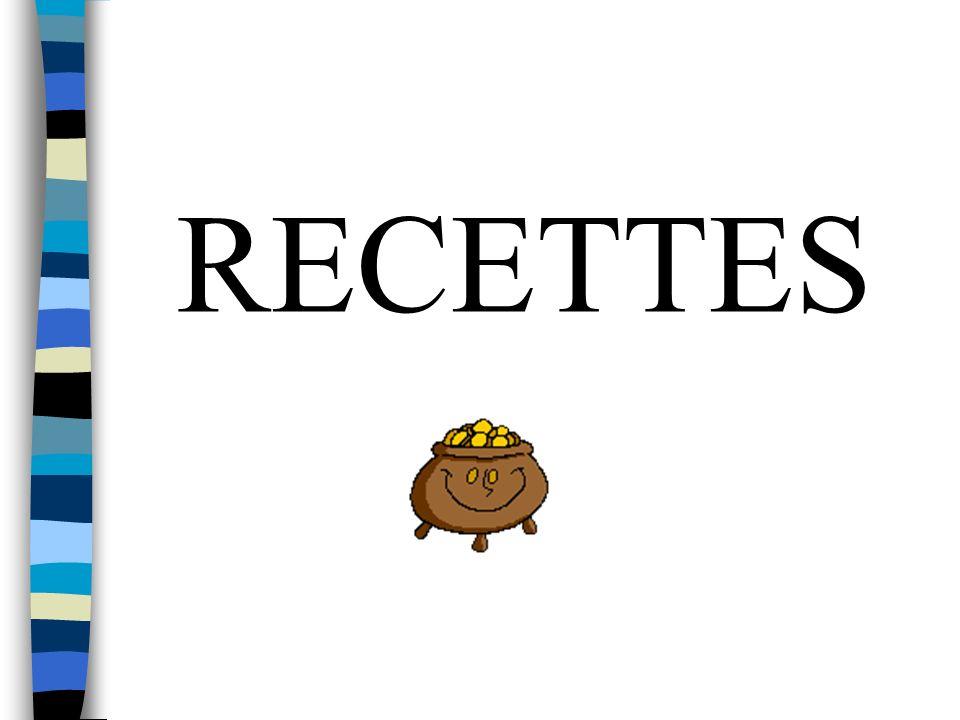 Recettes pour la Restauration (Forfait + Hors Forfait) Dotation Départementale de Fonctionnement (Subvention Départementale) Ressources Affectées (Subventions Etat ou Département, Voyages Scolaires, CAE, Objets Confectionnés… )