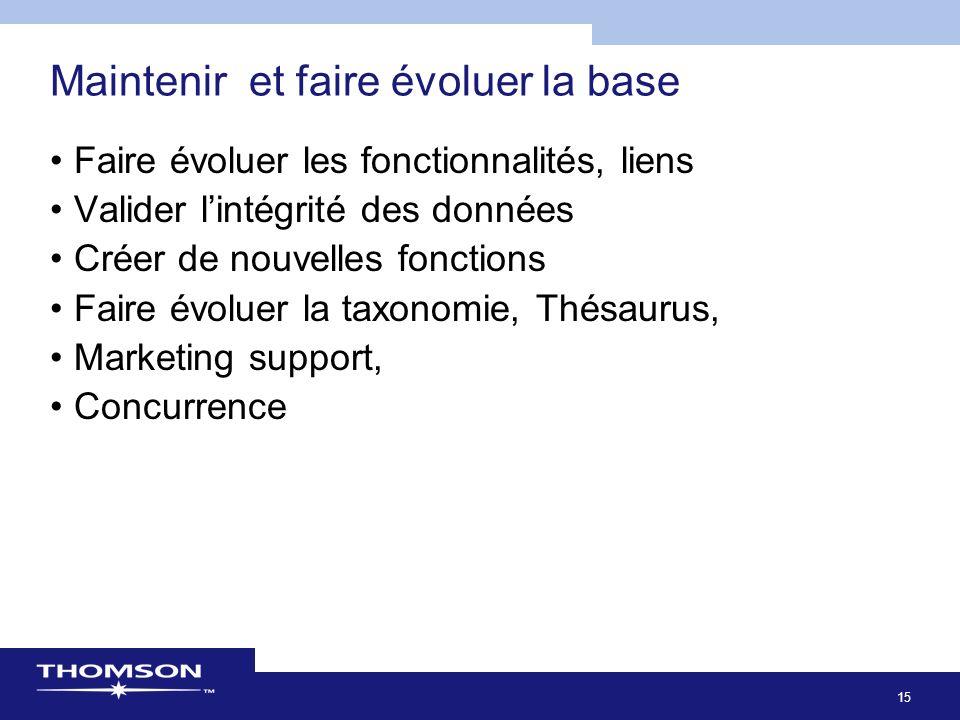 15 Maintenir et faire évoluer la base Faire évoluer les fonctionnalités, liens Valider lintégrité des données Créer de nouvelles fonctions Faire évoluer la taxonomie, Thésaurus, Marketing support, Concurrence