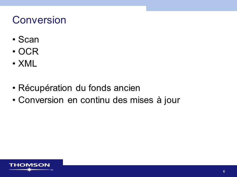 6 Conversion Scan OCR XML Récupération du fonds ancien Conversion en continu des mises à jour