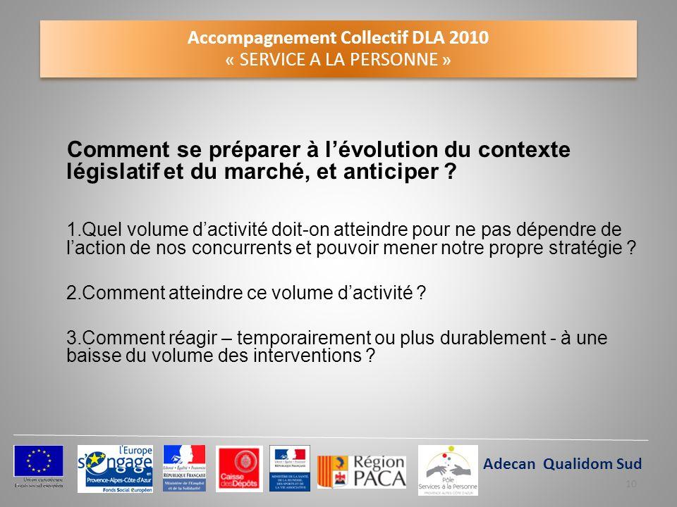 Accompagnement Collectif DLA 2010 « SERVICE A LA PERSONNE » Comment se préparer à lévolution du contexte législatif et du marché, et anticiper ? 1.Que