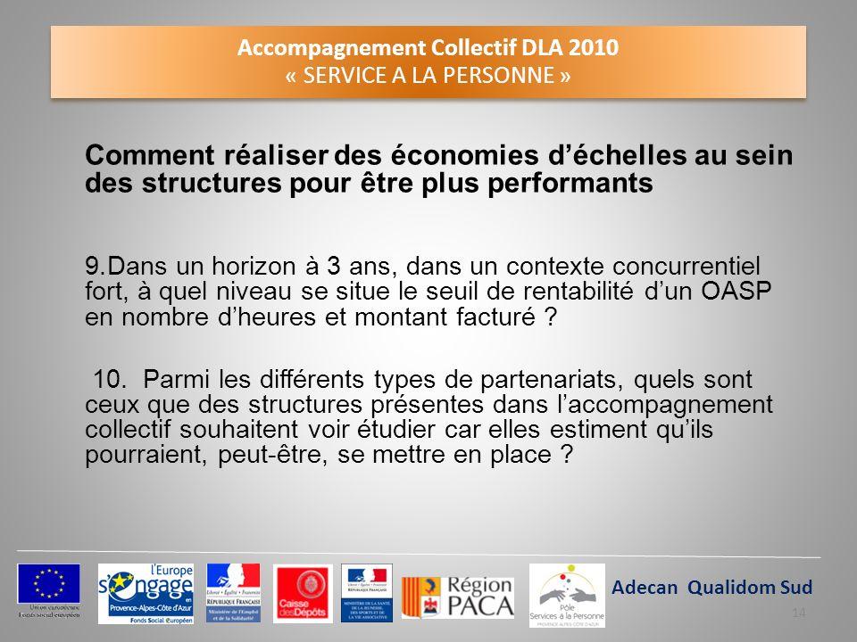 Accompagnement Collectif DLA 2010 « SERVICE A LA PERSONNE » Comment réaliser des économies déchelles au sein des structures pour être plus performants