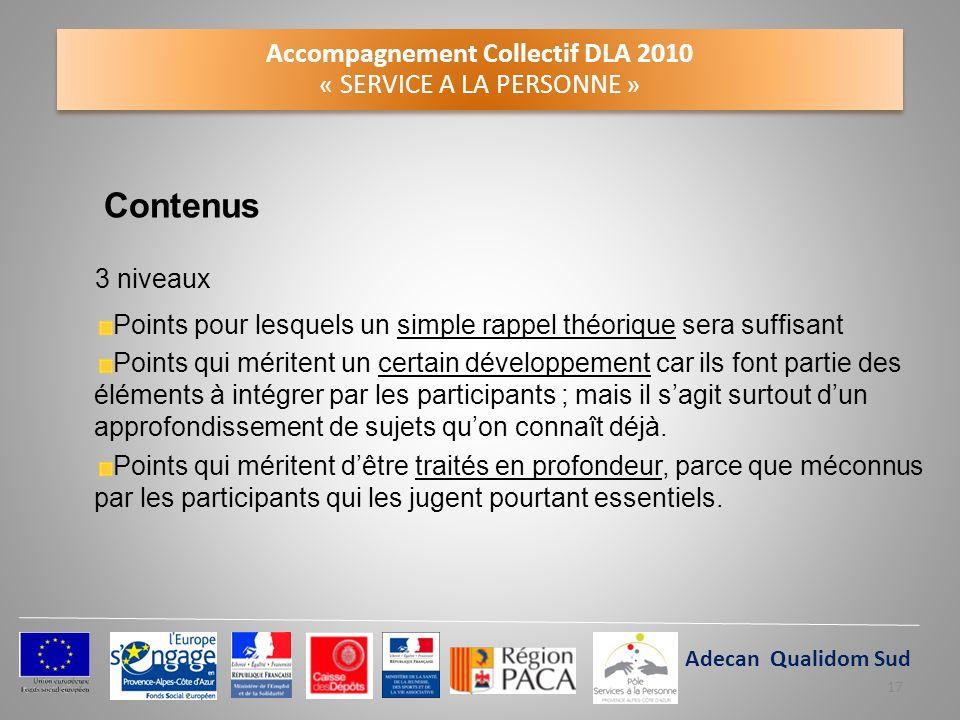 Accompagnement Collectif DLA 2010 « SERVICE A LA PERSONNE » Contenus 3 niveaux Points pour lesquels un simple rappel théorique sera suffisant Points q