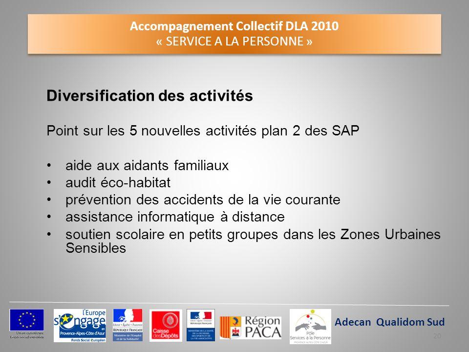 Accompagnement Collectif DLA 2010 « SERVICE A LA PERSONNE » Diversification des activités Point sur les 5 nouvelles activités plan 2 des SAP aide aux