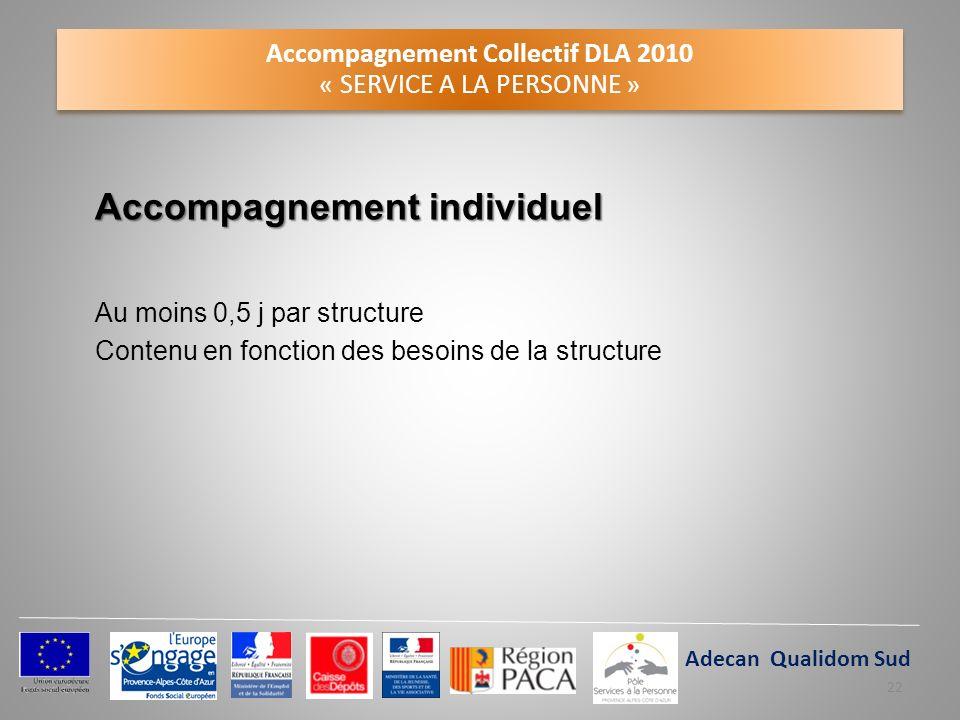 Accompagnement Collectif DLA 2010 « SERVICE A LA PERSONNE » Accompagnement individuel Au moins 0,5 j par structure Contenu en fonction des besoins de