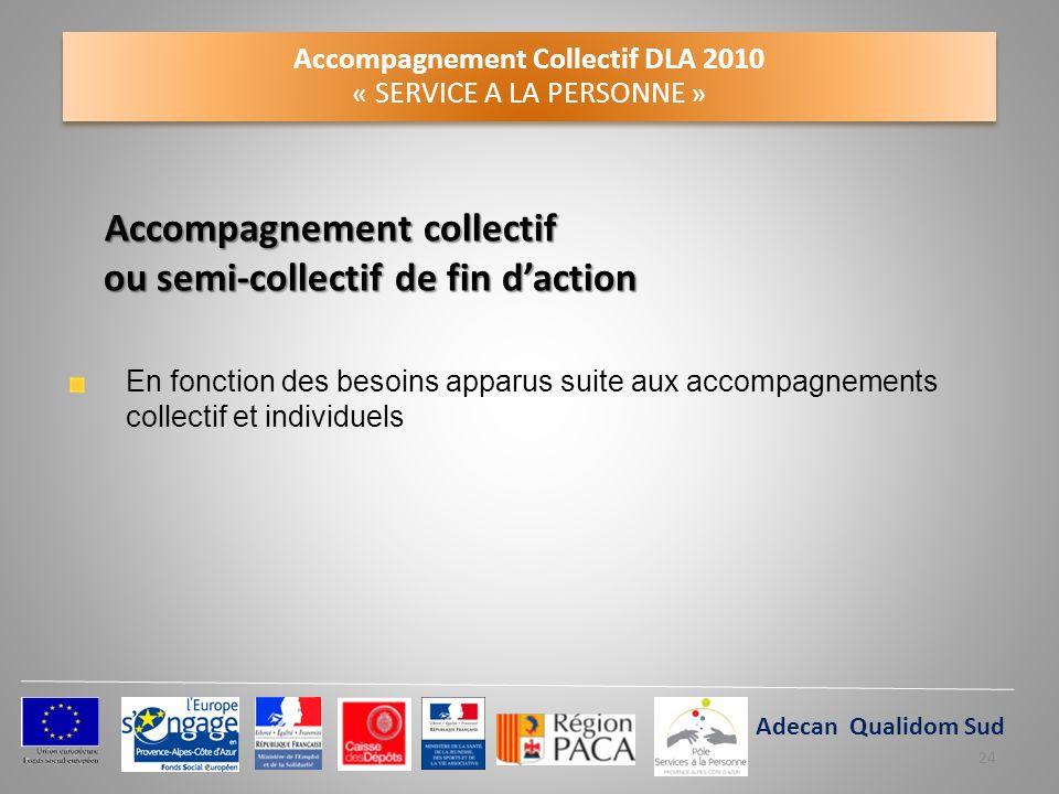 Accompagnement Collectif DLA 2010 « SERVICE A LA PERSONNE » Accompagnement collectif ou semi-collectif de fin daction En fonction des besoins apparus