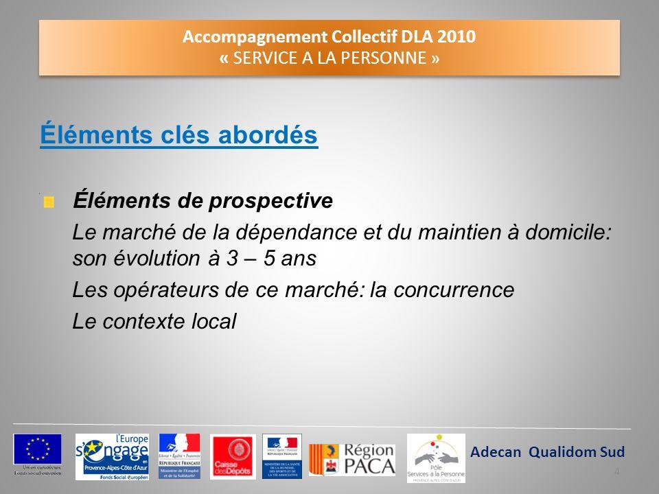 Accompagnement Collectif DLA 2010 « SERVICE A LA PERSONNE » Éléments clés abordés Éléments de prospective Le marché de la dépendance et du maintien à