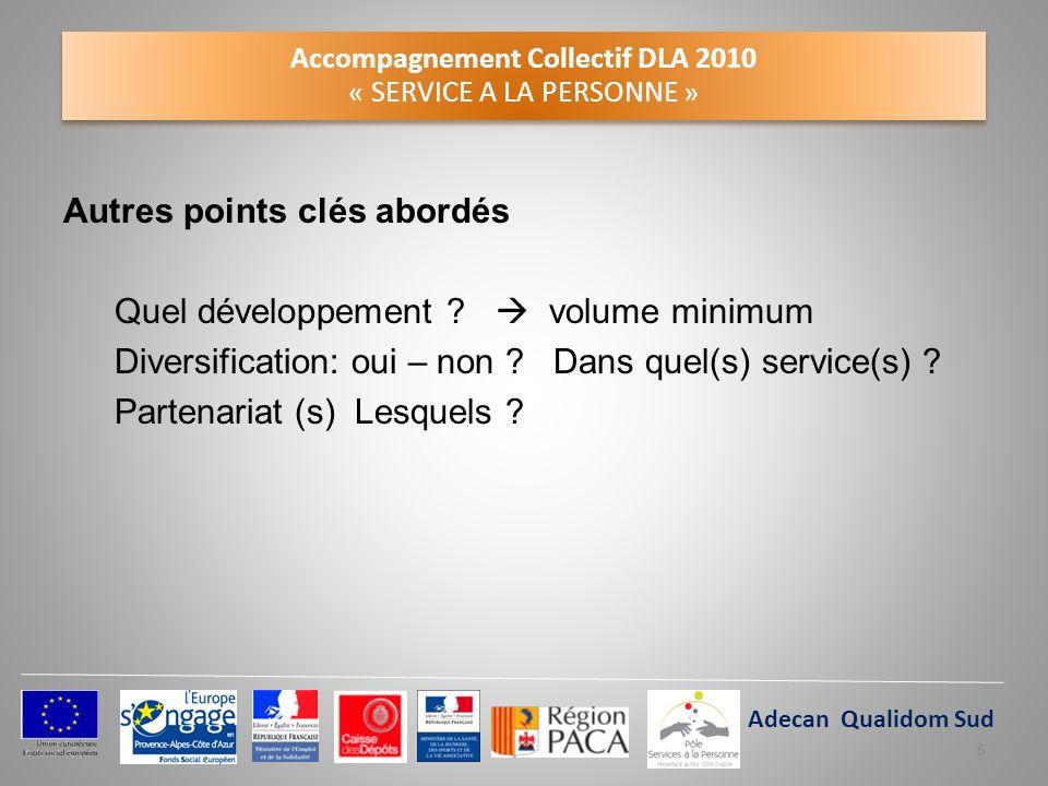 Accompagnement Collectif DLA 2010 « SERVICE A LA PERSONNE » Autres points clés abordés Quel développement ? volume minimum Diversification: oui – non