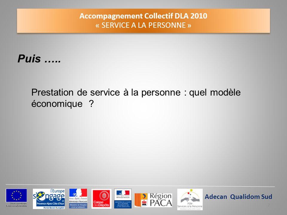 Accompagnement Collectif DLA 2010 « SERVICE A LA PERSONNE » Puis ….. Prestation de service à la personne : quel modèle économique ? Claie Adecan Quali