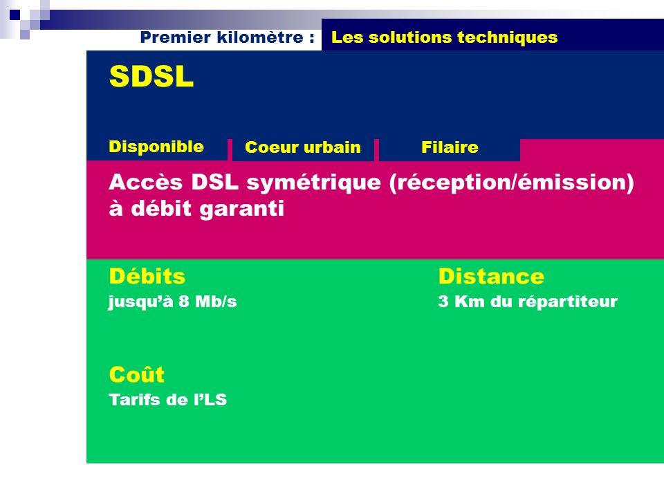 Premier kilomètre : Les solutions techniques Débits jusquà 8 Mb/s SDSL Accès DSL symétrique (réception/émission) à débit garanti Distance 3 Km du répa
