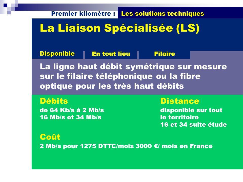 Premier kilomètre : Les solutions techniques Débits de 64 Kb/s à 2 Mb/s 16 Mb/s et 34 Mb/s La Liaison Spécialisée (LS) La ligne haut débit symétrique