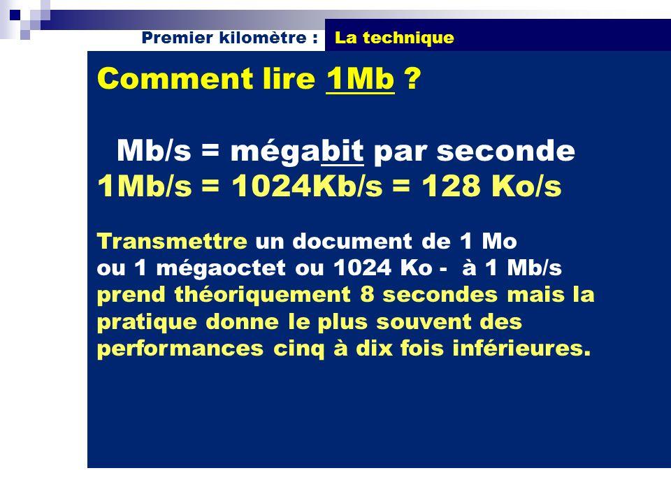 Comment lire 1Mb ? Mb/s = mégabit par seconde 1Mb/s = 1024Kb/s = 128 Ko/s Transmettre un document de 1 Mo ou 1 mégaoctet ou 1024 Ko - à 1 Mb/s prend t