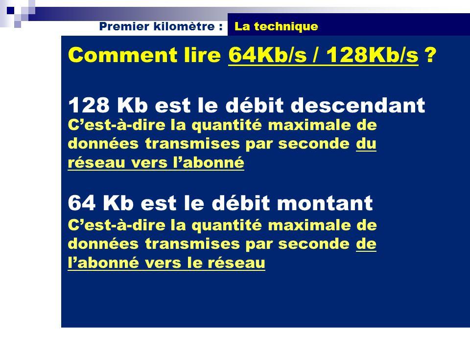 Comment lire 64Kb/s / 128Kb/s ? 128 Kb est le débit descendant Cest-à-dire la quantité maximale de données transmises par seconde du réseau vers labon