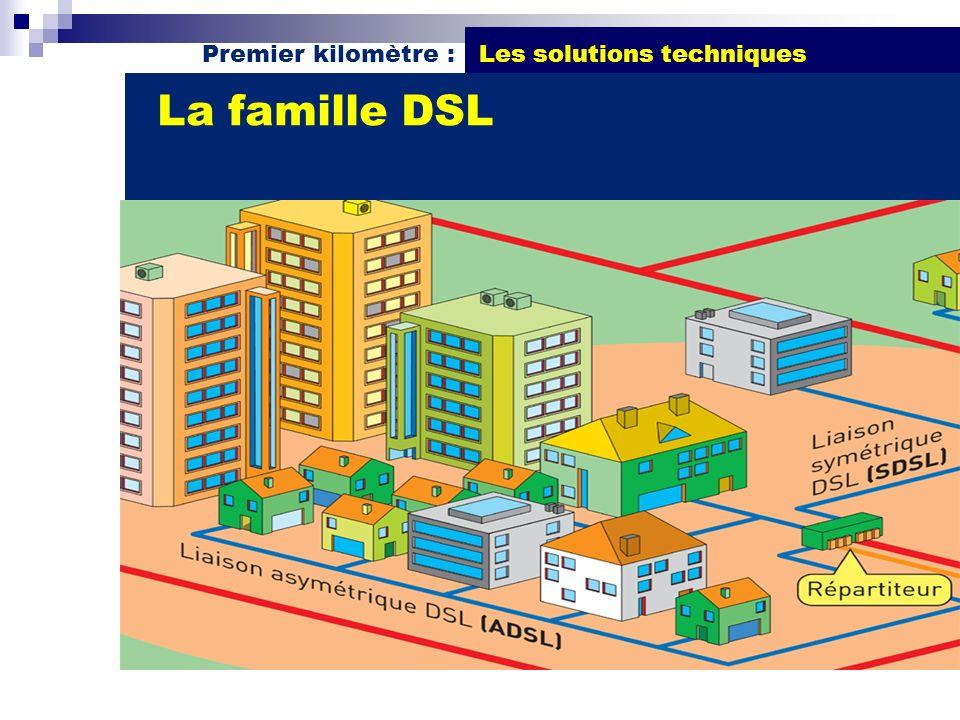 Premier kilomètre : Les solutions techniques Débits 128 Kb/s 256 Kb/s 512 Kb/s 1 Mb/s ADSL ( Asymetric Digital Subscriber Line) Parc de 40 000 avec une extension de 150 000 qui démarre progressivement en fin 2006 Distance 4 Km du répartiteur (pour du 512Kb/s) Coût de 14 à 80 DTTC/mois (Frais TT en sus de 15 à 50 DTTC/mois) Zone urbaineFilaire Disponible