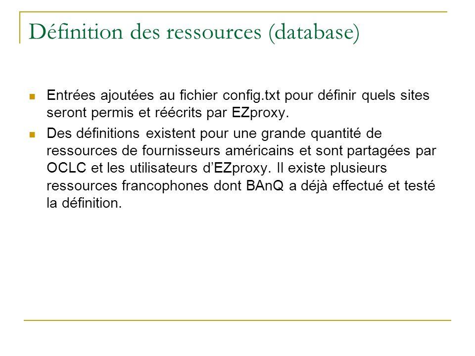 Définition des ressources (database) Entrées ajoutées au fichier config.txt pour définir quels sites seront permis et réécrits par EZproxy. Des défini