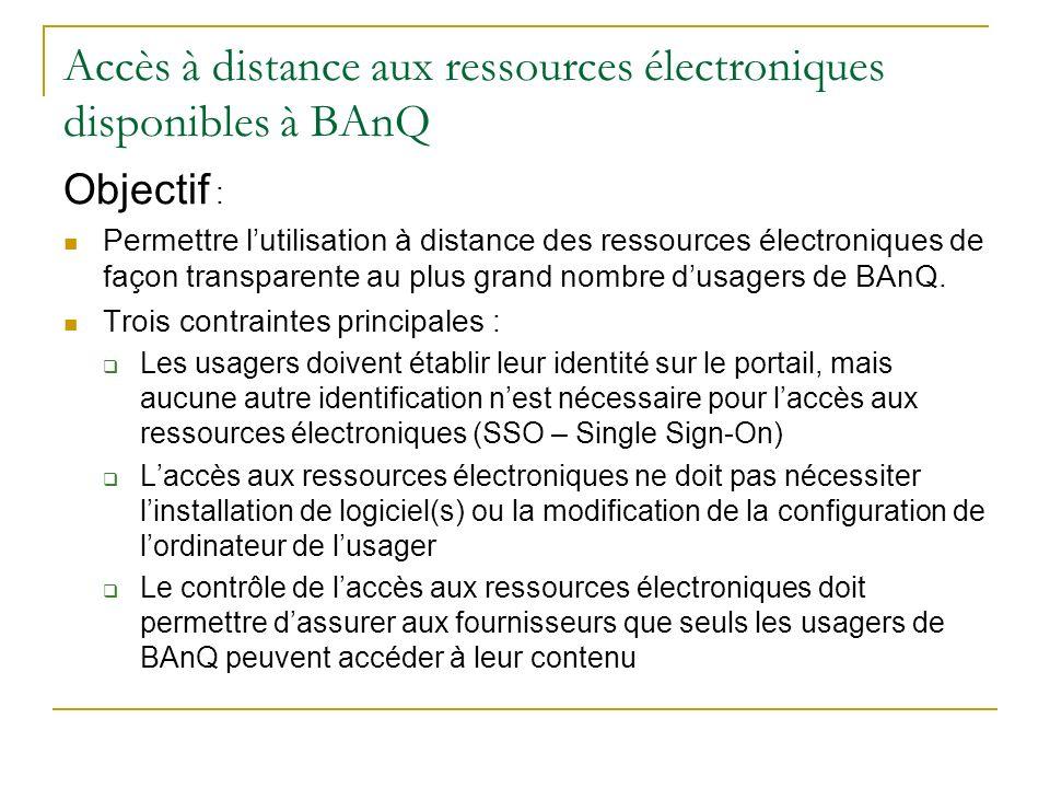 Accès à distance aux ressources électroniques disponibles à BAnQ Objectif : Permettre lutilisation à distance des ressources électroniques de façon tr