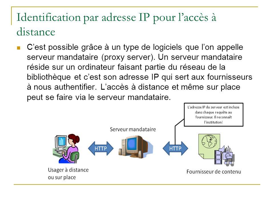 Identification par adresse IP pour laccès à distance (suite) Un seul problème : pour que le serveur mandataire puisse relayer les requêtes de lusager, ce dernier doit modifier la configuration de son navigateur Internet.