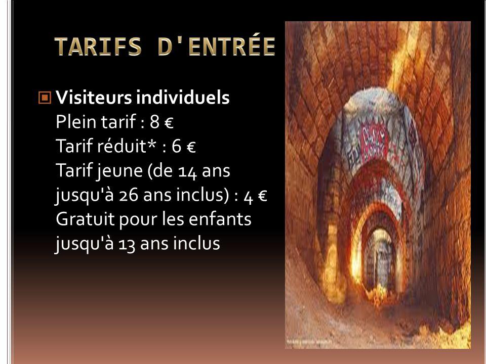 Visiteurs individuels Plein tarif : 8 Tarif réduit* : 6 Tarif jeune (de 14 ans jusqu'à 26 ans inclus) : 4 Gratuit pour les enfants jusqu'à 13 ans incl