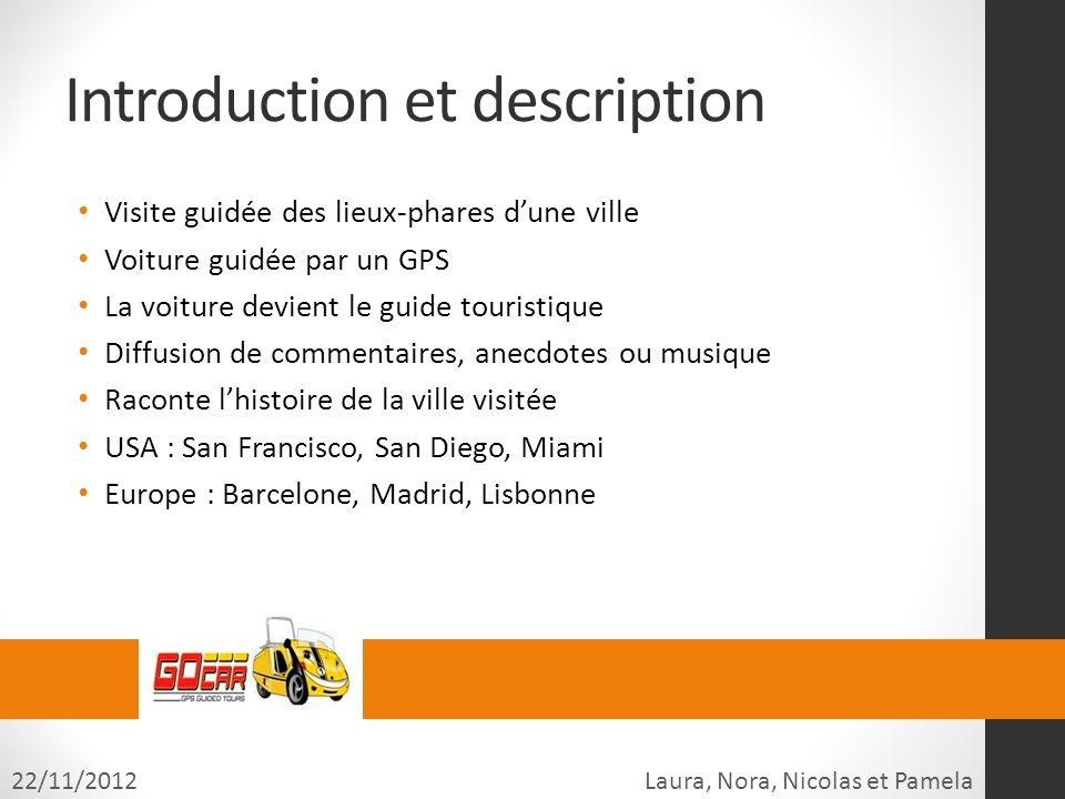 Introduction et description Visite guidée des lieux-phares dune ville Voiture guidée par un GPS La voiture devient le guide touristique Diffusion de c