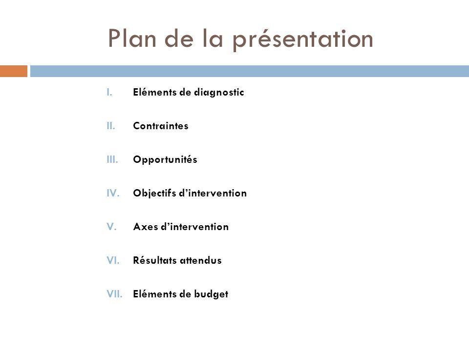 Plan de la présentation I.Eléments de diagnostic II.Contraintes III.Opportunités IV.Objectifs dintervention V.Axes dintervention VI.Résultats attendus