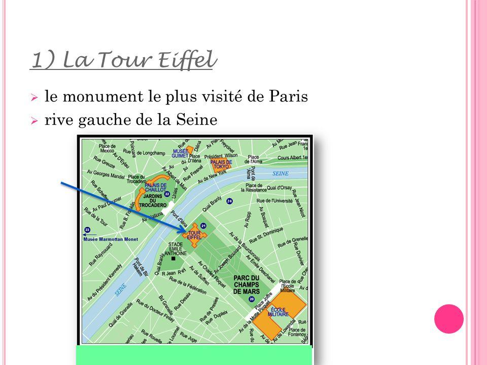 5) Les informations le monument est connu dans le monde entier lannée dernière 7 millions de visiteurs ont montés la Tour Eiffel Il y a des tarifs différents (adultes/jeunes/enfants, escalier/ascenseur, quel étage) Chaque soir à 21 h, les lumières de la Tour Eiffel commençent à clignoter pendant 3 heures