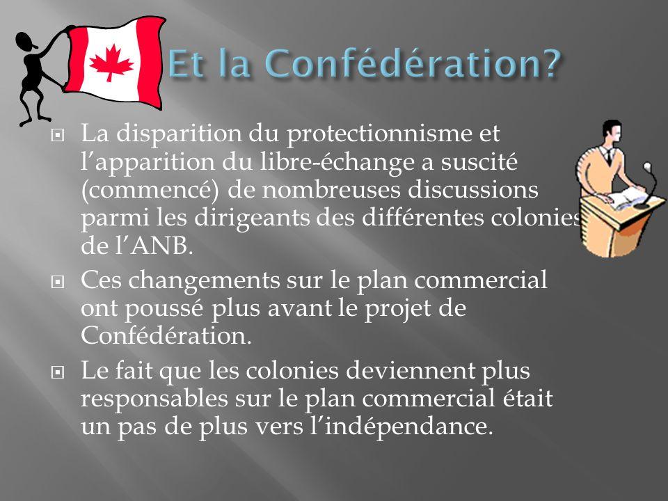 La disparition du protectionnisme et lapparition du libre-échange a suscité (commencé) de nombreuses discussions parmi les dirigeants des différentes colonies de lANB.