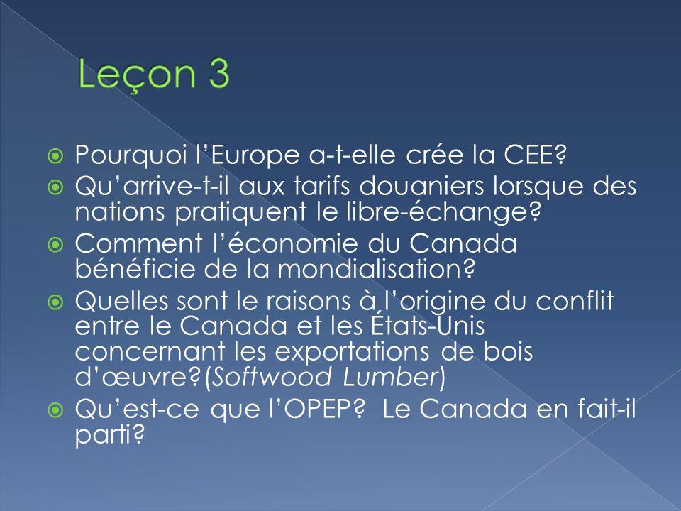 Pourquoi lEurope a-t-elle crée la CEE? Quarrive-t-il aux tarifs douaniers lorsque des nations pratiquent le libre-échange? Comment léconomie du Canada