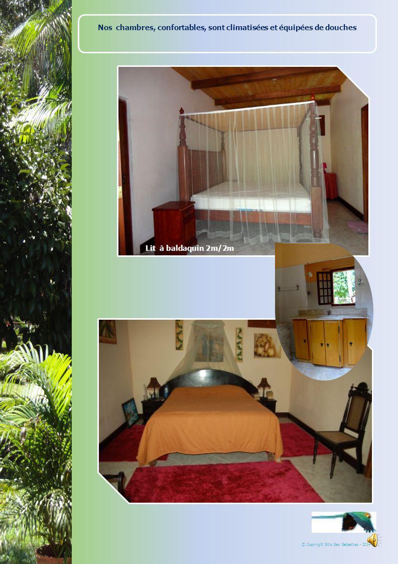 Nos chambres, confortables, sont climatisées et équipées de douches © Copyright Sitio Sao Sebastiao - 2014 Lit à baldaquin 2m/2m