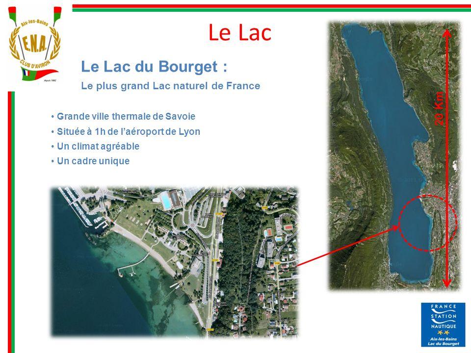 Le Lac 20 Km Le Lac du Bourget : Le plus grand Lac naturel de France Grande ville thermale de Savoie Située à 1h de laéroport de Lyon Un climat agréab