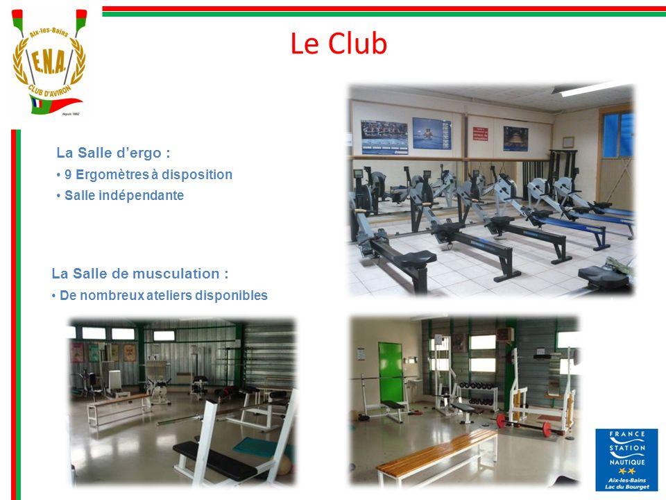 La Salle dergo : 9 Ergomètres à disposition Salle indépendante Le Club La Salle de musculation : De nombreux ateliers disponibles