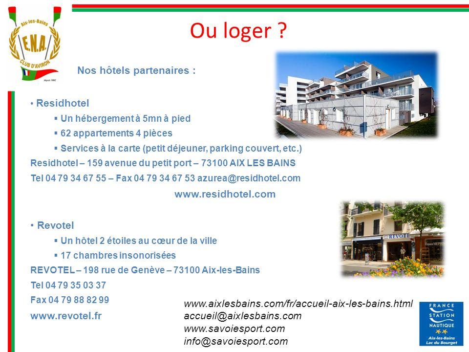 www.aixlesbains.com/fr/accueil-aix-les-bains.html accueil@aixlesbains.com www.savoiesport.com info@savoiesport.com Ou loger ? Nos hôtels partenaires :