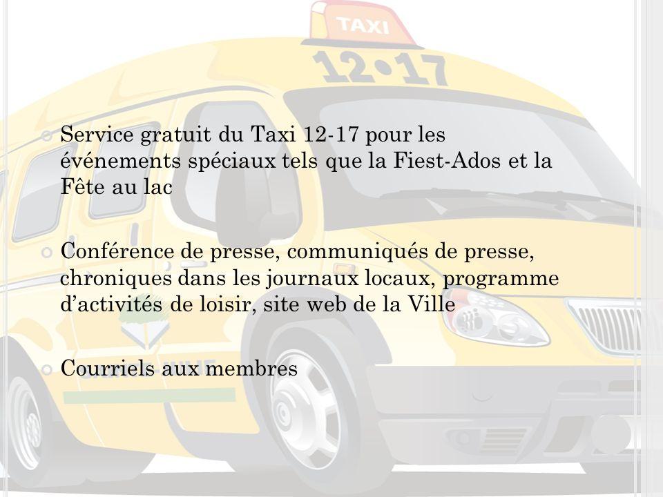 Service gratuit du Taxi 12-17 pour les événements spéciaux tels que la Fiest-Ados et la Fête au lac Conférence de presse, communiqués de presse, chroniques dans les journaux locaux, programme dactivités de loisir, site web de la Ville Courriels aux membres