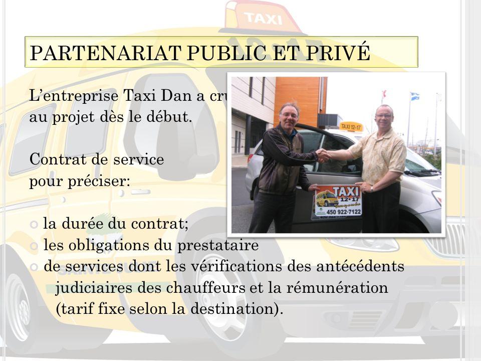 Lentreprise Taxi Dan a cru au projet dès le début. Contrat de service pour préciser: la durée du contrat; les obligations du prestataire de services d