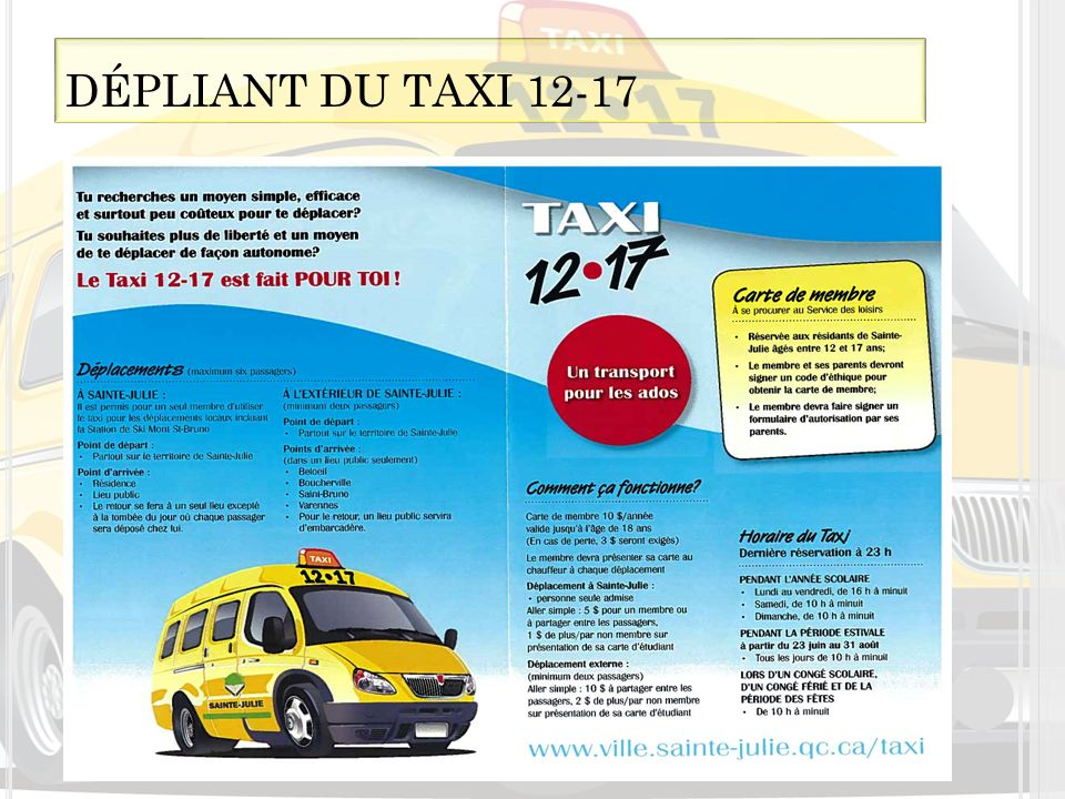 Clientèle Abonnement au service Horaire du service DÉPLIANT DU TAXI 12-17