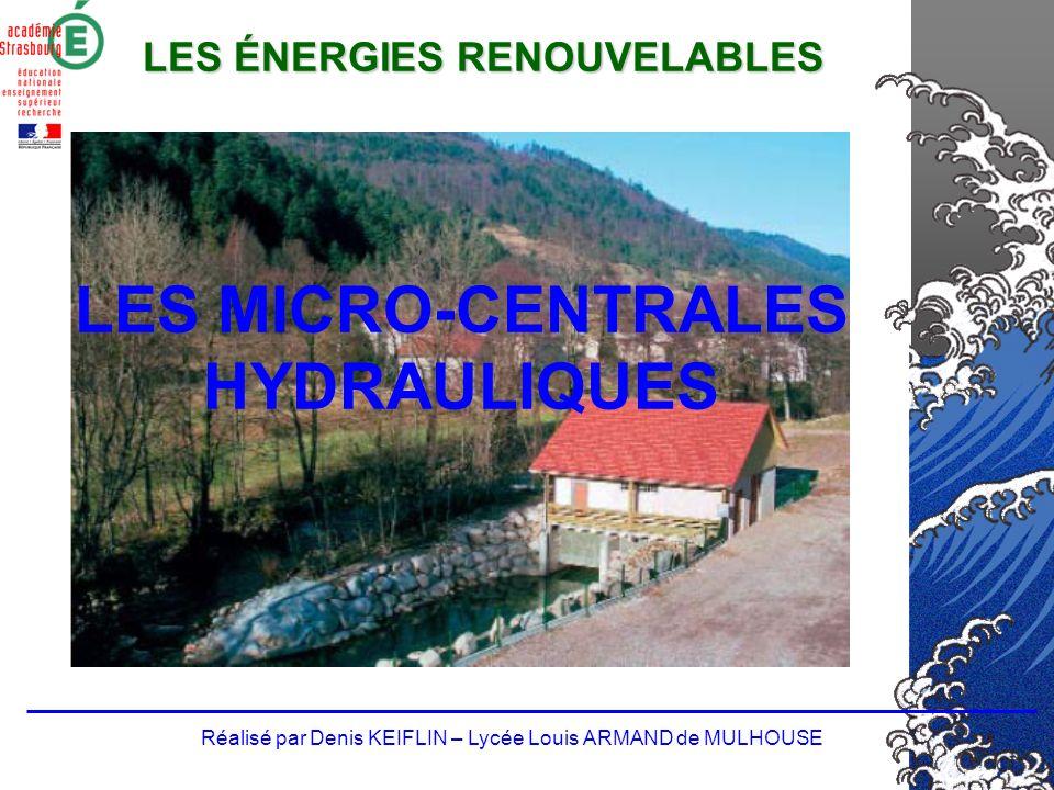 20002010 Consommation délectricité 450 TWh550 TWh (hyp : croissance de 1-2% par an de la consommation délectricité) Part de lénergie renouvelable (21%) 77,4 TWh115 TWh Hydraulique (grande, petite et pompage) 73,6 TWh70 TWh Petite hydraulique Env.