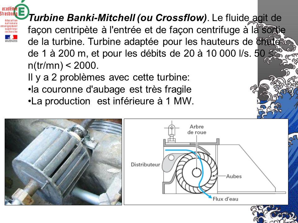 Les turbines à action Turbine Pelton. L'eau est envoyée sous pression par des injecteurs. Turbine adaptéé pour les très grandes chutes à faible débit.