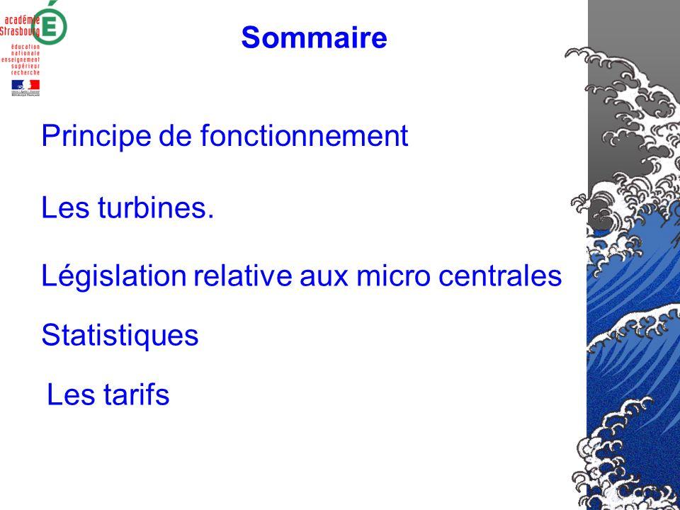 Sommaire Principe de fonctionnement Les turbines.