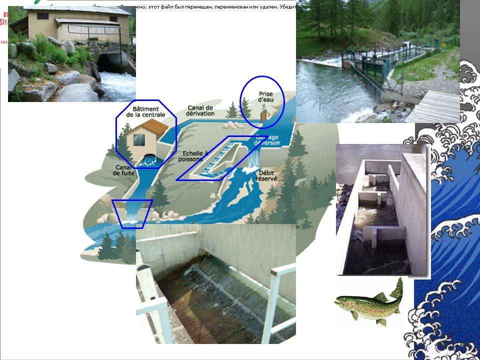 La microcentrale : bâtiment qui abrite la turbine, le générateur, les systèmes de contrôle et de régulation. Le barrage : dévie une partie du débit de