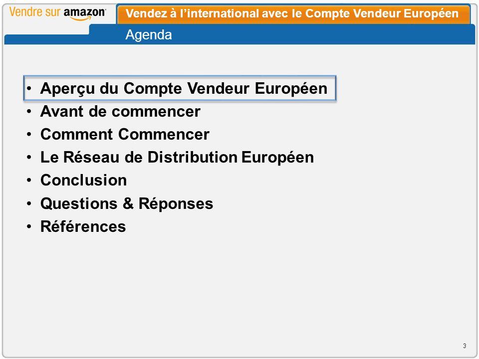 Le Compte Vendeur Européen permet aux vendeurs doffrir leurs produits sur plusieurs sites de vente européens dAmazon à partir dun compte vendeur unique.