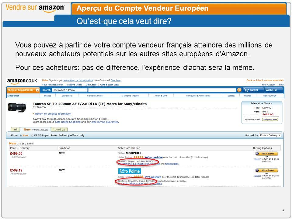 Vous pouvez offrir vos produits sur toutes les marketplaces européennes sans avoir à ouvrir de nouveaux comptes locaux.