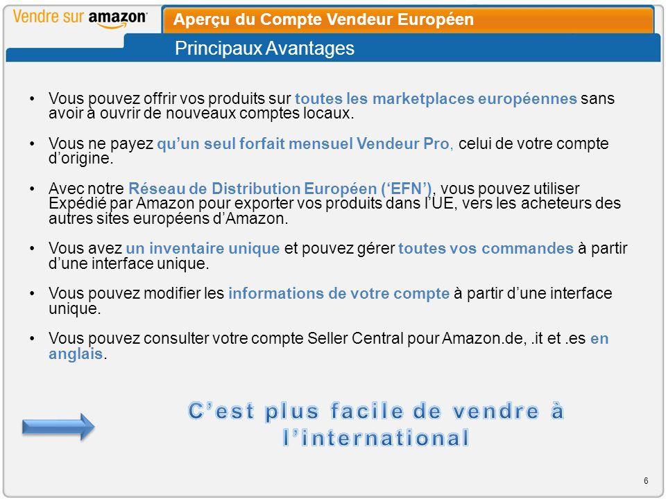 La page Gestion des Commandes est européenne.Vous pouvez filtrer les commandes par Canal de Vente.
