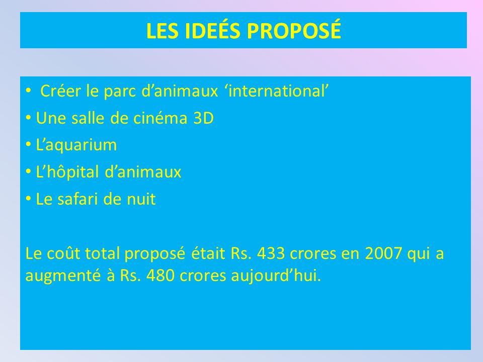 LES IDEÉS PROPOSÉ Créer le parc danimaux international Une salle de cinéma 3D Laquarium Lhôpital danimaux Le safari de nuit Le coût total proposé était Rs.
