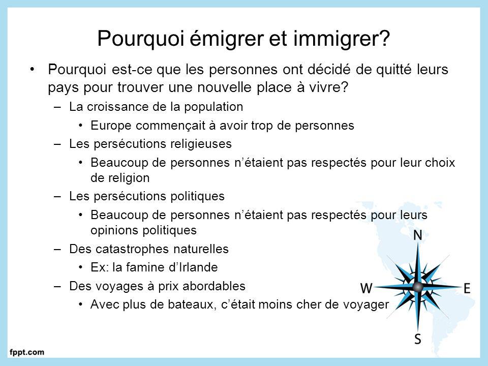 Pourquoi émigrer et immigrer? Pourquoi est-ce que les personnes ont décidé de quitté leurs pays pour trouver une nouvelle place à vivre? –La croissanc